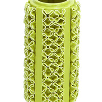 Ceramic Vase In Light Green Color And Glossy Finish