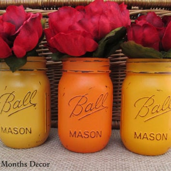 Autumn Painted Mason Jars, Set of 3, Orange Colors, Pint, Vase, Three Distressed Home Wedding Bridal, Rustic Shabby Chic, Housewarming Gift