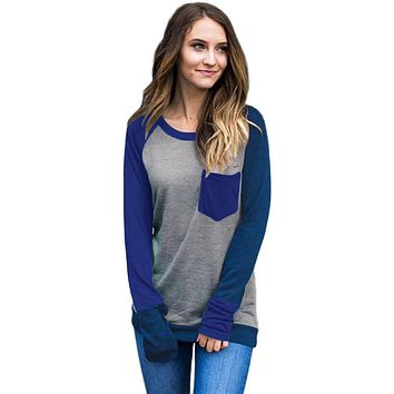 Double Blue Splice Gray Long Sleeve Top