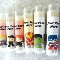 Superhero Custom Lip Balm | Superhero Birthday Party Favors | Free Customization