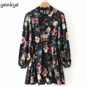 Spring 2019 Vintage Floral Print Jumpsuit Women High Collar Long Sleeve Ruffle Waist Casual Summer rompers womens jumpsuit