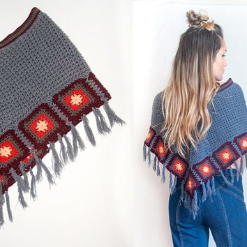 70s Granny Square Poncho Cape | Crochet Hippie Sweater Cardigan Hand Knit Boho Chic Shawl | One Size Vintage 1970s Clothing