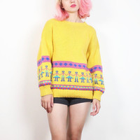 Vintage 1980s Sweater Yellow Pink Teal Blue Chunky Knit Cozy 80s Sweater People Print High Neck New Wave Jumper Novelty M Medium L Large