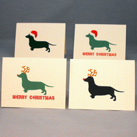 Dachshund Dog Christmas Card Set