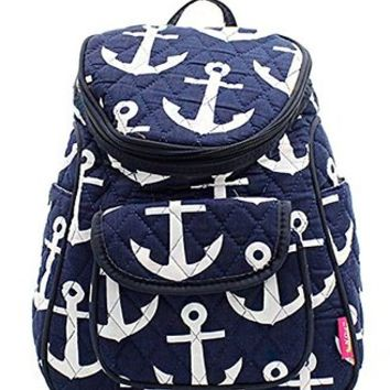 Nautical Anchor Print Canvas Small Backpack Handbag
