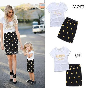 ESBONJ 2017 Lovely polka dot mother daughter dresses cotton summer mother and daughter clothes family look kids parent child outfits