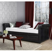 Twin Size Brown Faux Leather Upholstered Daybed With Trundle
