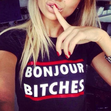 Letter Bonjour Bitches Print T-Shirts for Men Women Cotton Top Lover Tee -93