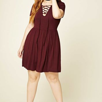 Plus Size Lace-Front Dress
