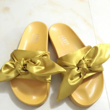 PUMA fenty rihanna silk slides sneakers-spring-Bow Slide Sandals Shoes (10-color) Golden