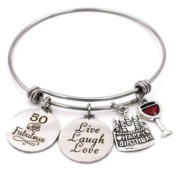 DCCKV2S Birthday Gifts for Her Stainless Steel Expandable Bangle 13th Sweet 16 21st 30th 40th 50th 60th