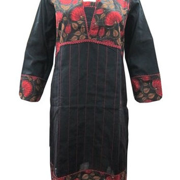 Indian Fashion Kurti Tunics Black Floral Print Long Kurta Caftan Small