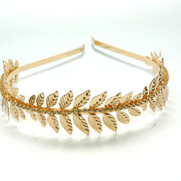 Grecian Rose Gold Leaf Headband, Laurel Leaf Headband, Rhinestone Gold Headband, Goddess Leaf Headband, Gold Headpiece