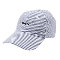 Longshanks Logo Hat in Blue Seersucker by Country Club Prep