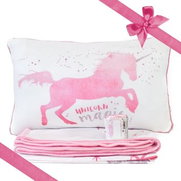 MAGICAL Unicorn Pillow & Velvet Blanket Set (+ FREE Bracelet)