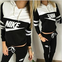 NIKE Sport suit color matching stitching letters printing hooded fashion suits Black