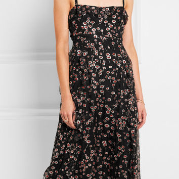 Valentino - Ruffled glittered silk-georgette midi dress
