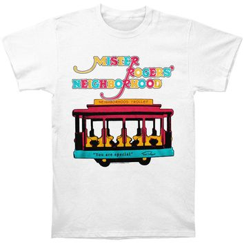 Mr. Roger's Neighborhood Men's  Trolley Slim Fit T-shirt White