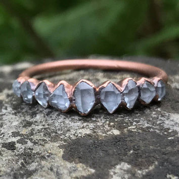 Copper gemstone ring / Herkimer diamond ring / Tiny gemstone ring / Copper wedding band / Alternative engagement ring / Copper ring
