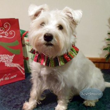 Christmas Stripes and Dots Dog Scrunchie Neck Ruffle