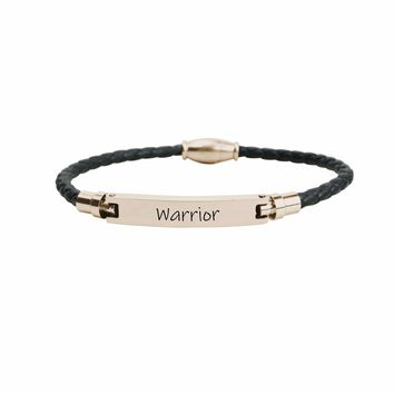 Genuine Magnetic Leather Inspirational Bracelet  -  Warrior