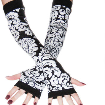 Dark Lands arm warmers made of black and white cotton jersey knit damask print fabric - Handmade
