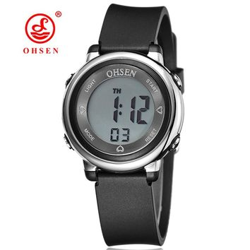New OHSEN Brand Women Lady Sport digital LCD Watch 50M Diving Black dial silicone strap waterproof wristwatch relogio feminino