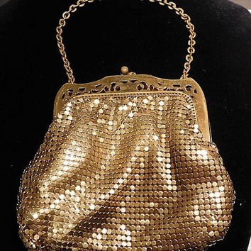 Gold Enamel Mesh Whiting Davis Evening Handbag Pouch Purse 1940s Fashion Late Art Deco Early Mid Century Bag Open Framework Filigree Frame