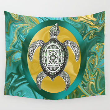 Aztec Emblem Sea Turtle  Wall Tapestry by Distortion Art