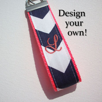 Key FOB / KeyChain / Wristlet  - inital monogram on your choice of chevron preppy -  custom navy coral