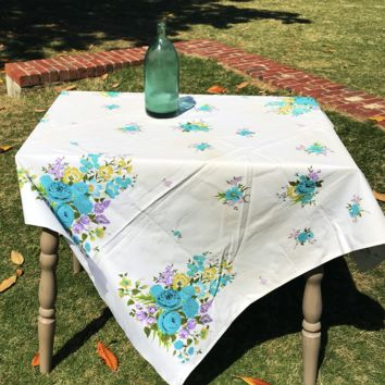 Vintage Tablecloth | Blue & Lavender Floral