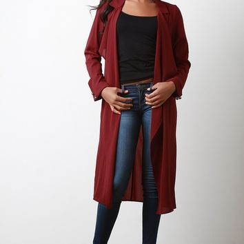 Open Front Chiffon Trench Coat