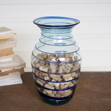 Large Recycled Glass Vase With Blue Swirl