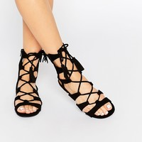 Call It Spring Villamor Ghillie Lace Up Tassle Flat Sandals