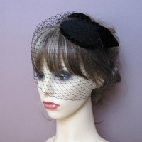 vintage style wool felt pillbox fascinator small hat birdcage veil 40s 50s retro wedding funeral formal hat