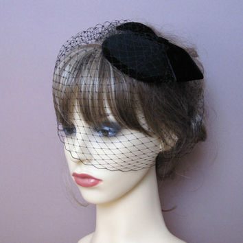 vintage style wool felt pillbox fascinator small hat birdcage veil 40s 50s  retro wedding funeral formal bf4adaccad0