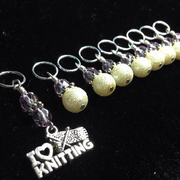 "Stitch Markers, ""I Love Knitting"", Snag Free Knitting Markers, Beaded stitch marker set, knitting Tools, Pattern Markers, Gift for Knitters"