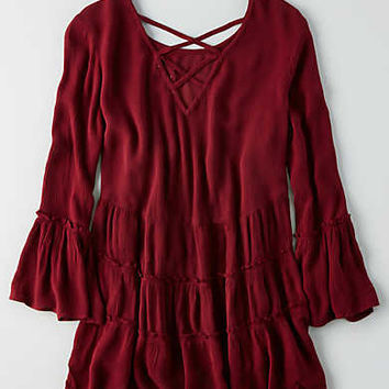 AEO Tiered Tunic Shirt , Burgundy