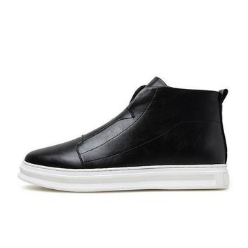 ICIKON3 zdrd ankle boots menshoes men wedge boots men pu leather boots solid zip men casual shoe