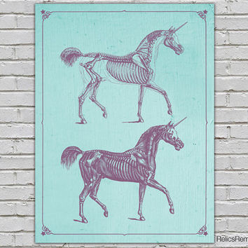 Rustic Unicorn Anatomy Print Purple Teal Vintage Fantasy Art Deco Mythical Poster 8x10 9x12 11x14 16x20 18x24