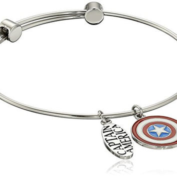 Marvel Comics Stainless Steel Captain America Charm Bangle Bracelet 7.25""