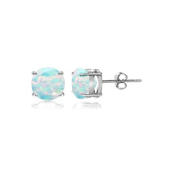 Sterling Silver Created White Opal 4mm Round Stud Earrings