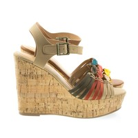 Music By Soda, Cork Platform Wedge Fisherman Woven Sandal, Women Open Toe Shoes