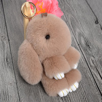Cute Mini Natural Rabbit Fur Pom Pom Key Chain Women Trinket Bunny Toy Doll Bag Car Key Ring Monster Keychain Party Jewelry Gift