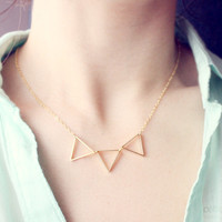 triad - gold triangle necklace - geometric jewelry