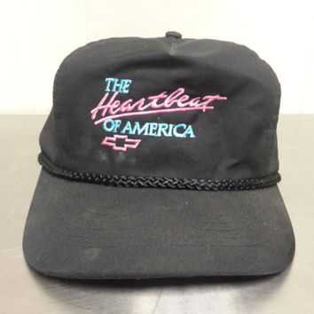 "Vintage Chevy ""The Heartbeat of America"" Blue and Pink Script Snapback Collectors Hat 1980's"