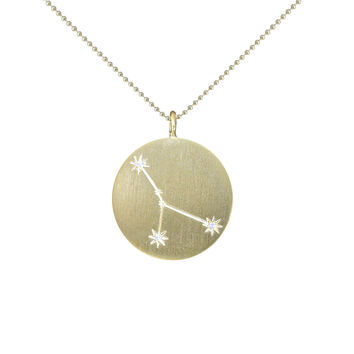 Gold Zodiac Pendant with Diamonds - Cancer