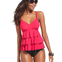 Swim Solutions Swimsuit, Tiered-Ruffle Tankini Top & Solid High-Waist Brief Bottom - Womens Swimwear - Macy's