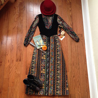 Vintage Bohemian Paisley Dress with Black Velvet Corset and Quilted Skirt 1960s Gay Gibson