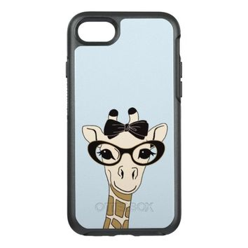 Cute Funny Hand Drawn Giraffe with Eye glasses OtterBox Symmetry iPhone 7 Case